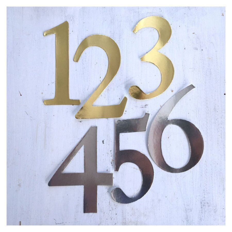Gold or silver number stickers wedding table numbers for Table numbers