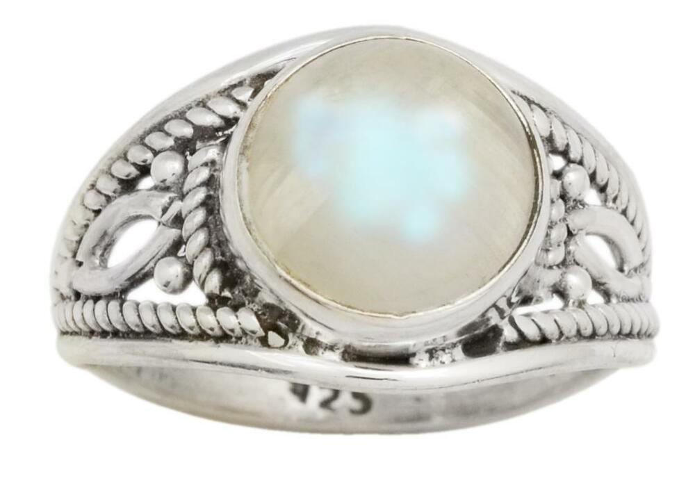 Rainbow Moon Stone Gemstone Ring Solid 925 Sterling Silver Jewelry IR