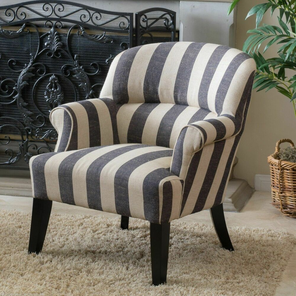 Living Room Furniture Dark Blue Beige Stripe Club Chair eBay