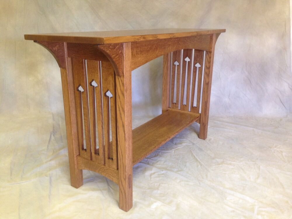 Mission Arts Crafts Handmade Sofa Table Oak With Cutouts Tennons