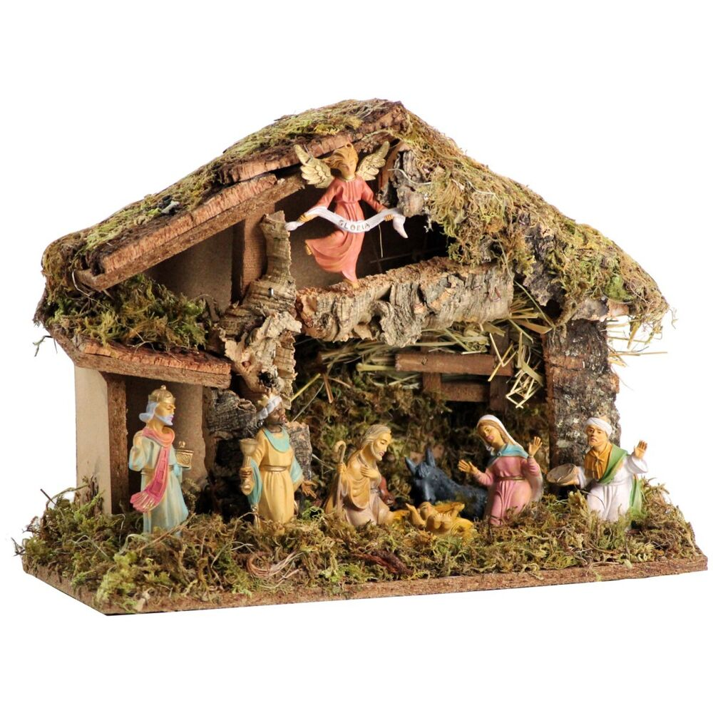 weihnachtskrippe holz krippe 36cm figuren weihnachten bethlehem christi jesus ebay. Black Bedroom Furniture Sets. Home Design Ideas