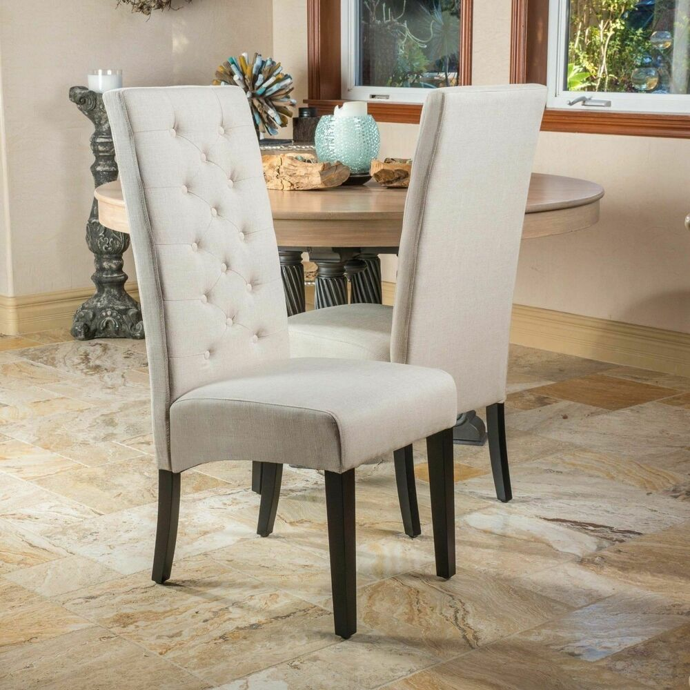 Set Of 2 Tufted High Back Linen Parsons Dining Chairs Ebay