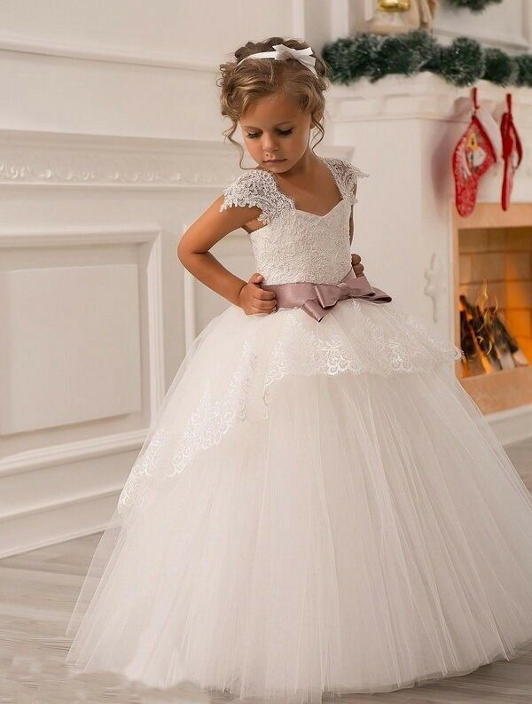 New wedding party formal flower girls dress baby pageant for Girls dresses for a wedding