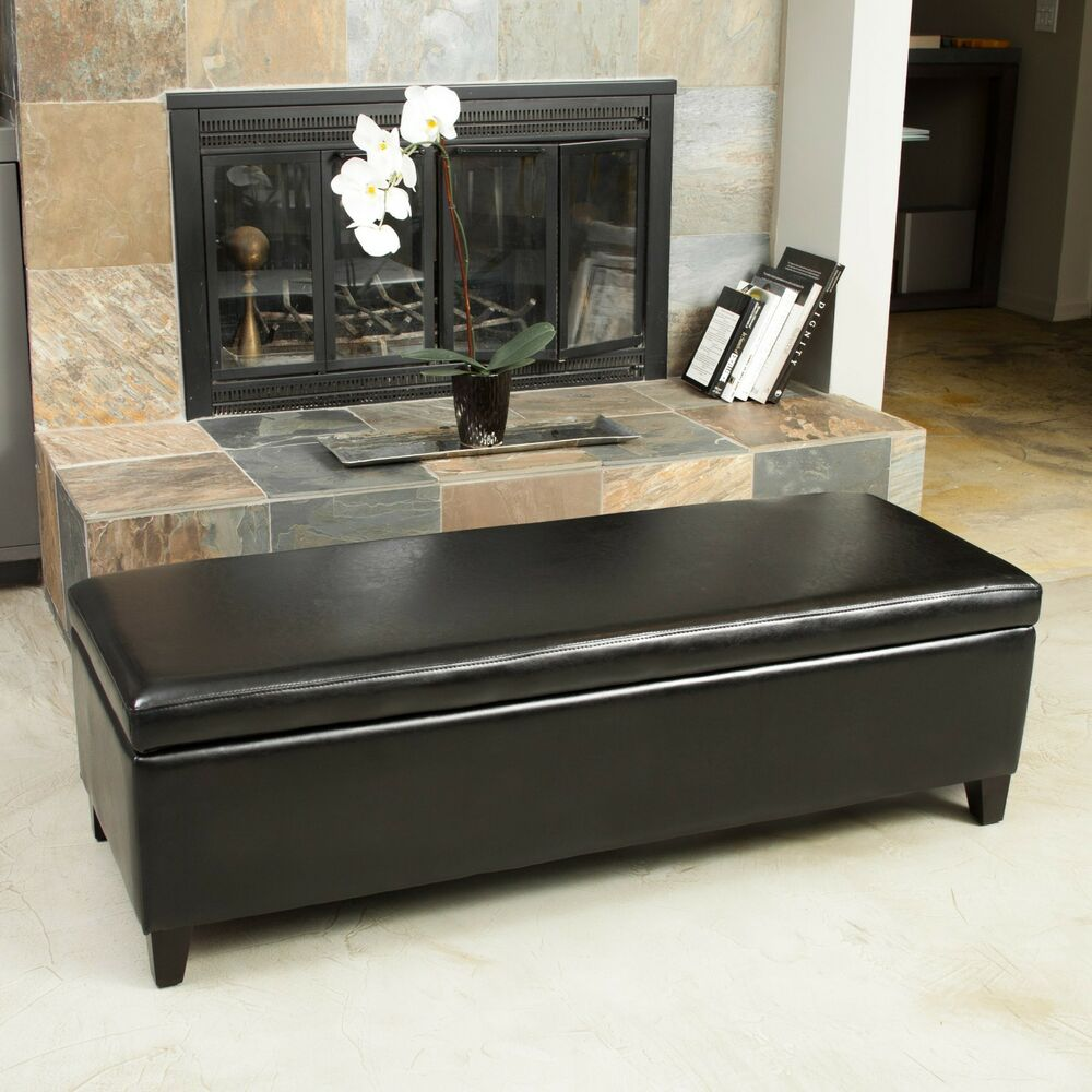 Black Leather Storage Ottoman Bench Ebay