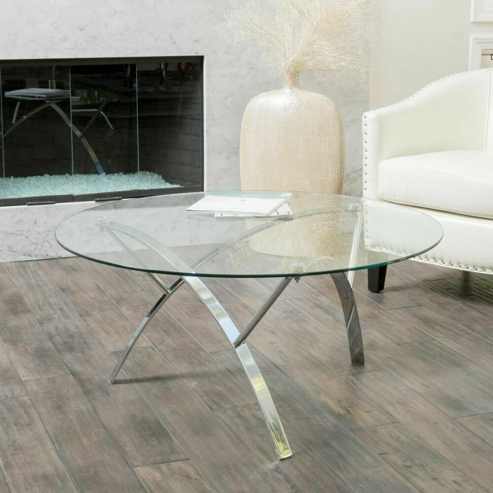 Living room modern design tempered glass round coffee table w chrome legs ebay Glass coffee and end tables