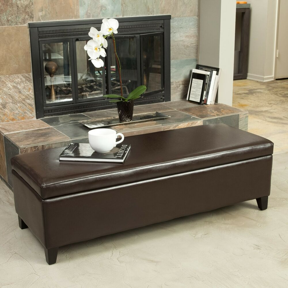 Living room furniture brown leather storage ottoman bench ebay Living room benches