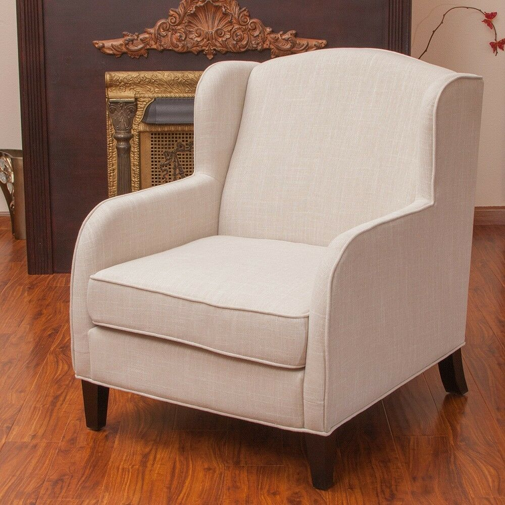 Living room furniture natural fabric wingback club chair for Ebay living room chairs