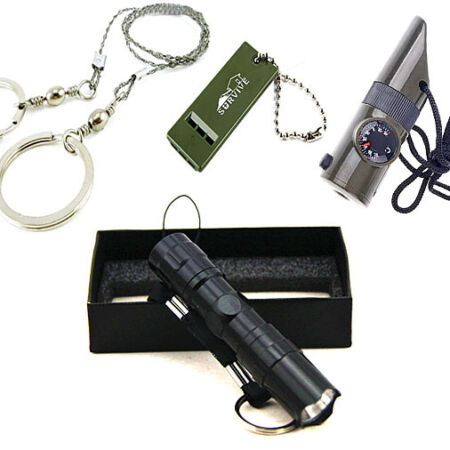 img-Survival Kit Whistle+Wire Saw+7in1 Whistle+Mini Flashlight Field Camping Outdoor