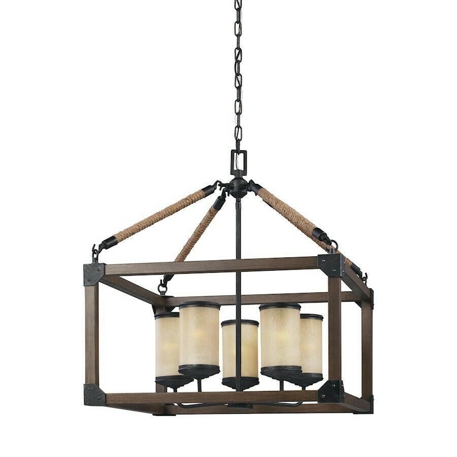 Sea Gull Lighting Dunning Five Light Chandelier Stardust With Creme Parchment G Ebay