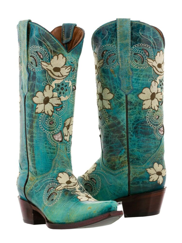 womens turquoise beige flower embroidered leather cowboy