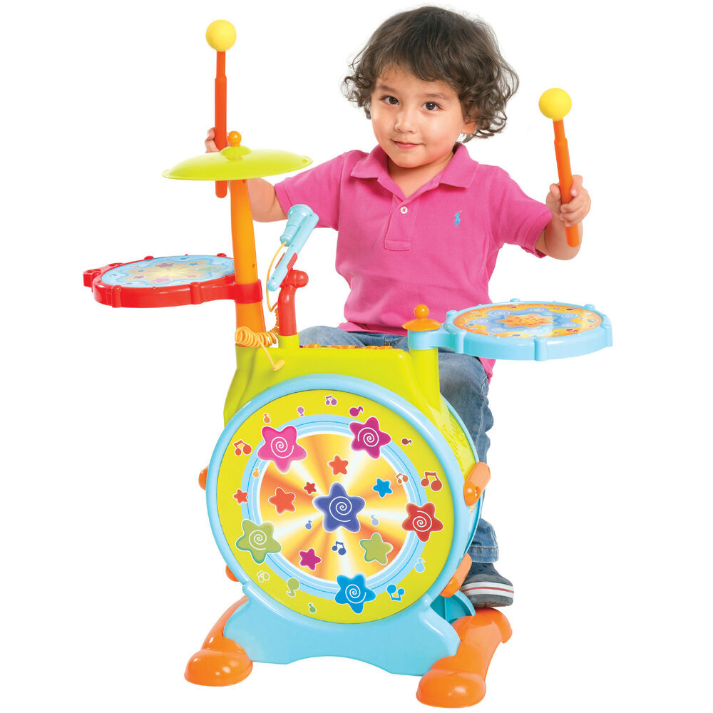 kids electronic toy drum set with adjustable sing along microphone and stool ebay. Black Bedroom Furniture Sets. Home Design Ideas