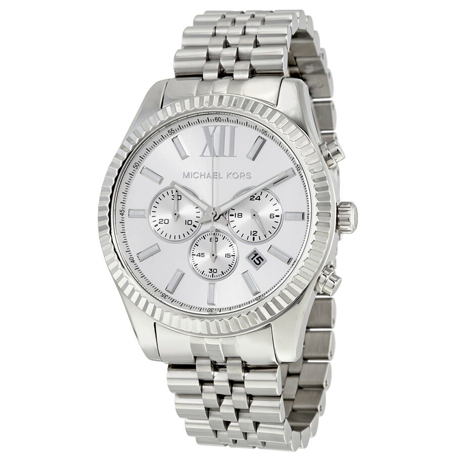 michael kors lexington chronograph silver dial stainless steel mens watch mk8405 ebay