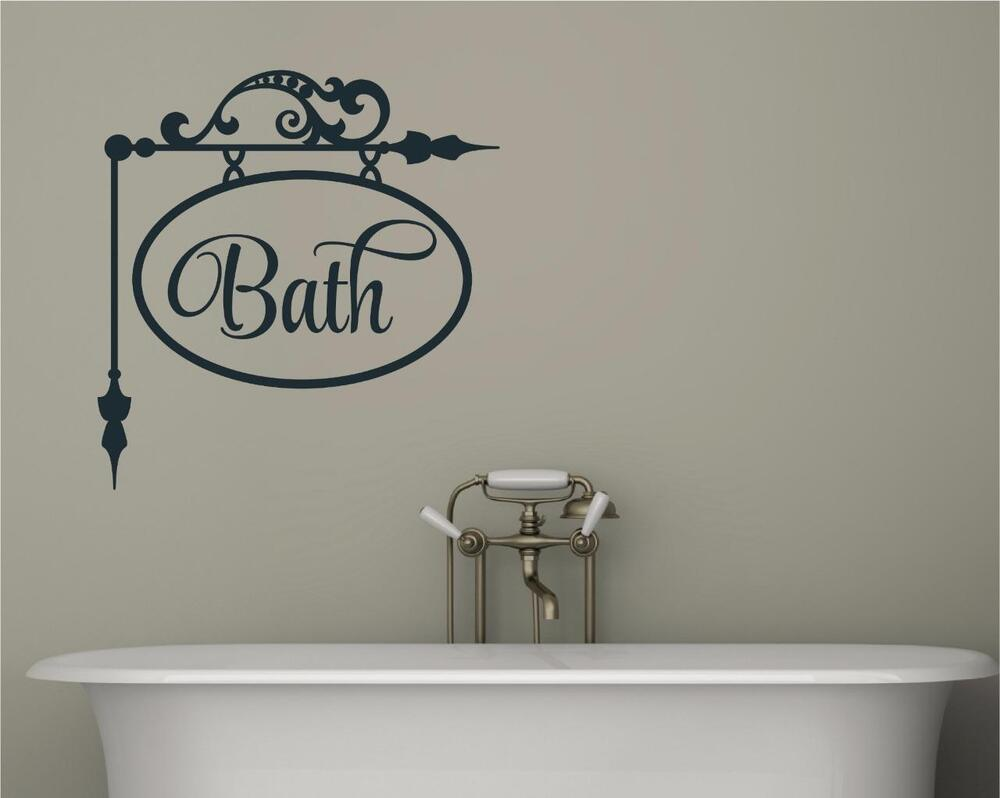 Bath bathroom decor vinyl decal wall sticker words for Spa bathroom wall decor