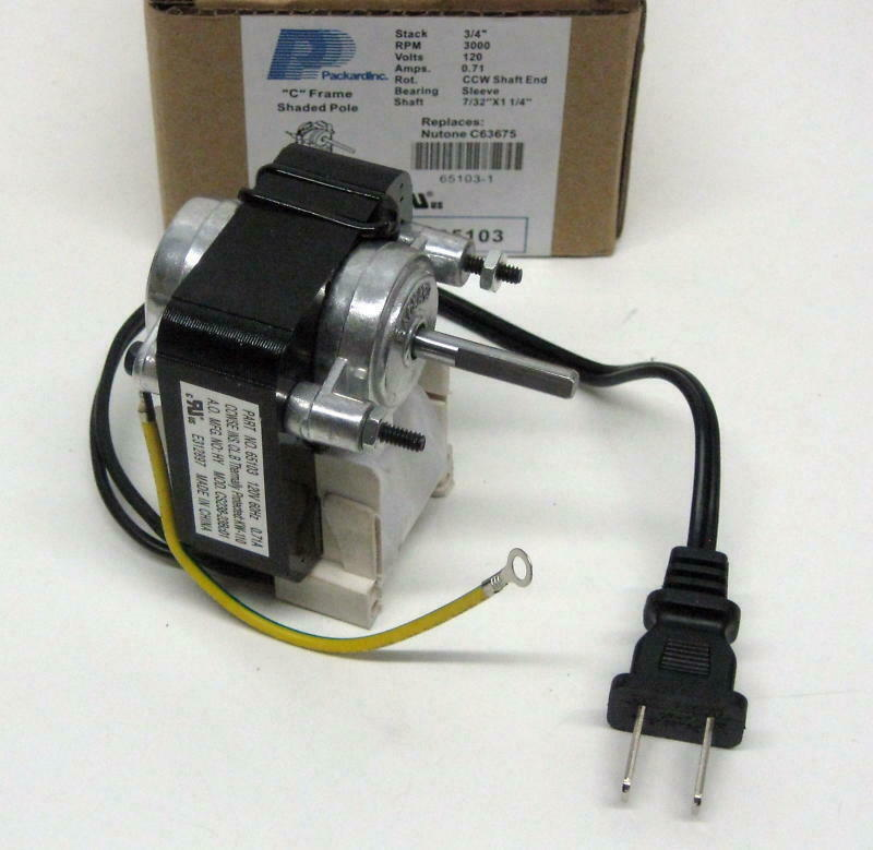65103 Exhaust Heater Vent Fan Motor For Nutone 57768
