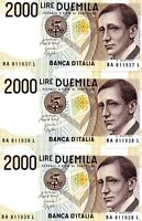 LOT Italy, 3 x 2000, ND (1990-1994 issue), last pre-Euro, Pick 115, UNC