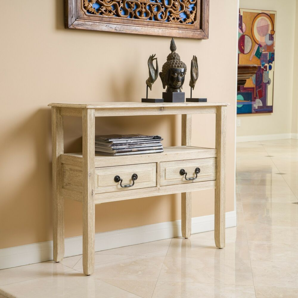 Antique Finish Off-White Wood Accent Table W/ Drawers