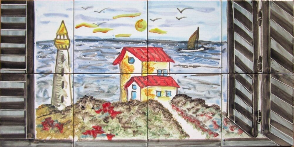 Decorative ceramic tiles mosaic panel hand painted for Art deco tile mural