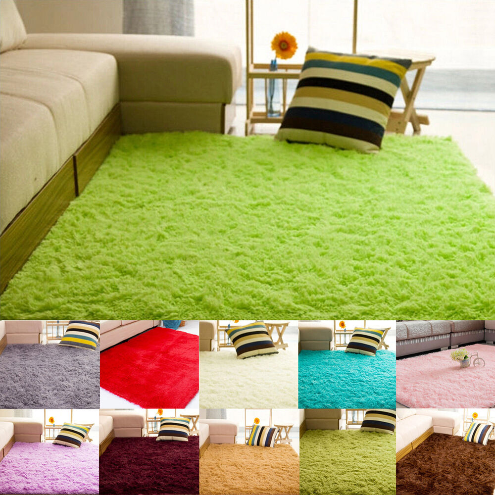 N fluffy rug anti slip shaggy area rug living room bedroom for Living room mats