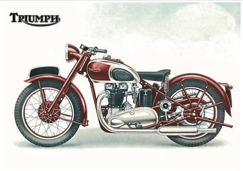 Triumph Poster 5t Speed Twin 1940 U0026 39 S 1946 1947 1948 3t 6t