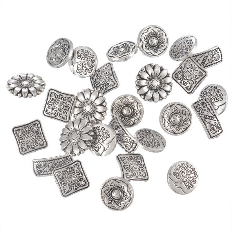 50PCs Mixed Antique Silver Round Metal Buttons Flower