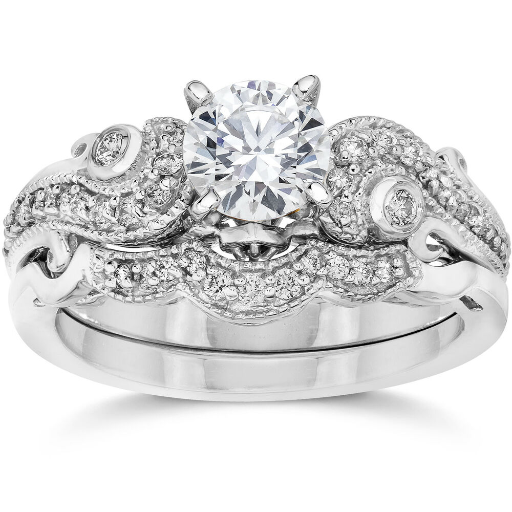 Emery 3 4ct vintage diamond filigree engagement wedding for Wedding ring sets white gold