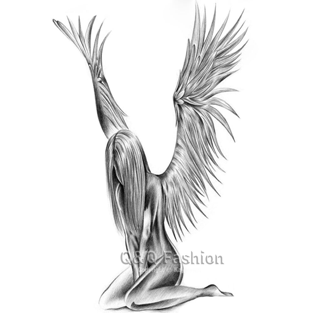 Fallen Angel Wings Raver Arm Leg Body Art Waterproof