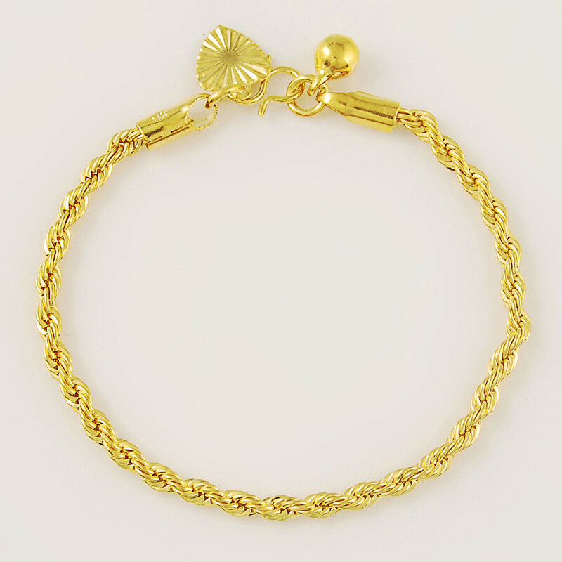 24k Gold Plated Wrest Rope Chain Boy Baby Chain Bracelet