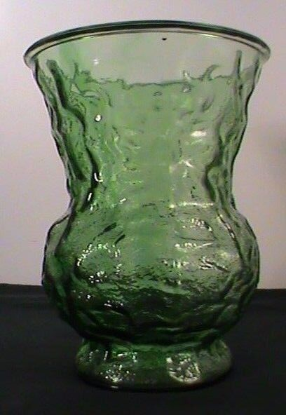 Eo Brody Light Green Large Depression Glass Vase Crinkle