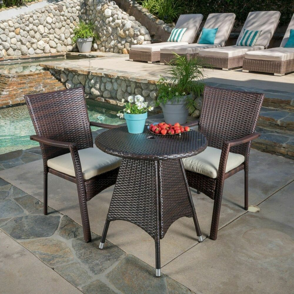 Contemporary Outdoor 3 Piece Brown Wicker Bistro Set With