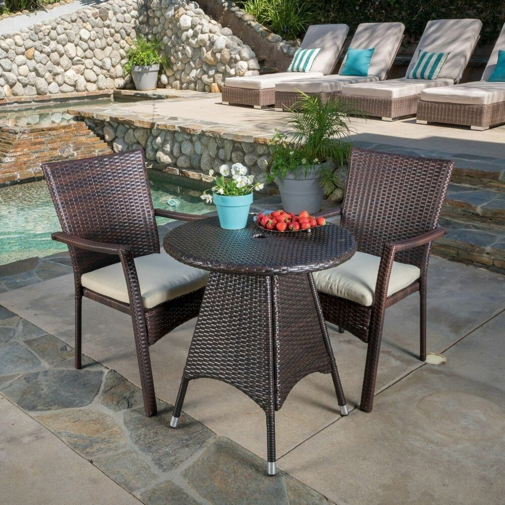 Contemporary Outdoor 3 Piece Brown Wicker Bistro Set With Beige Cushions EBay