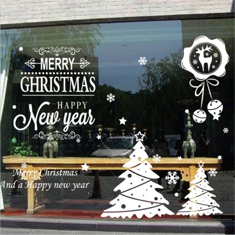 Diy large christmas wall stickers window decal mural vinyl for Christmas wall mural plastic