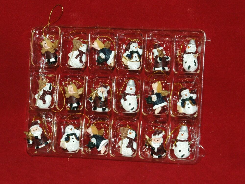 Set Of 18 Snowman Angel Santa Hand Painted Miniature