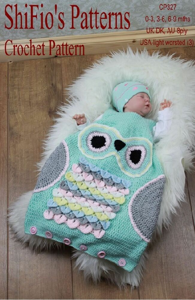 CROCHET PATTERN for OWL BABY SLEEPING BAG 3 SIZES #327 by ...