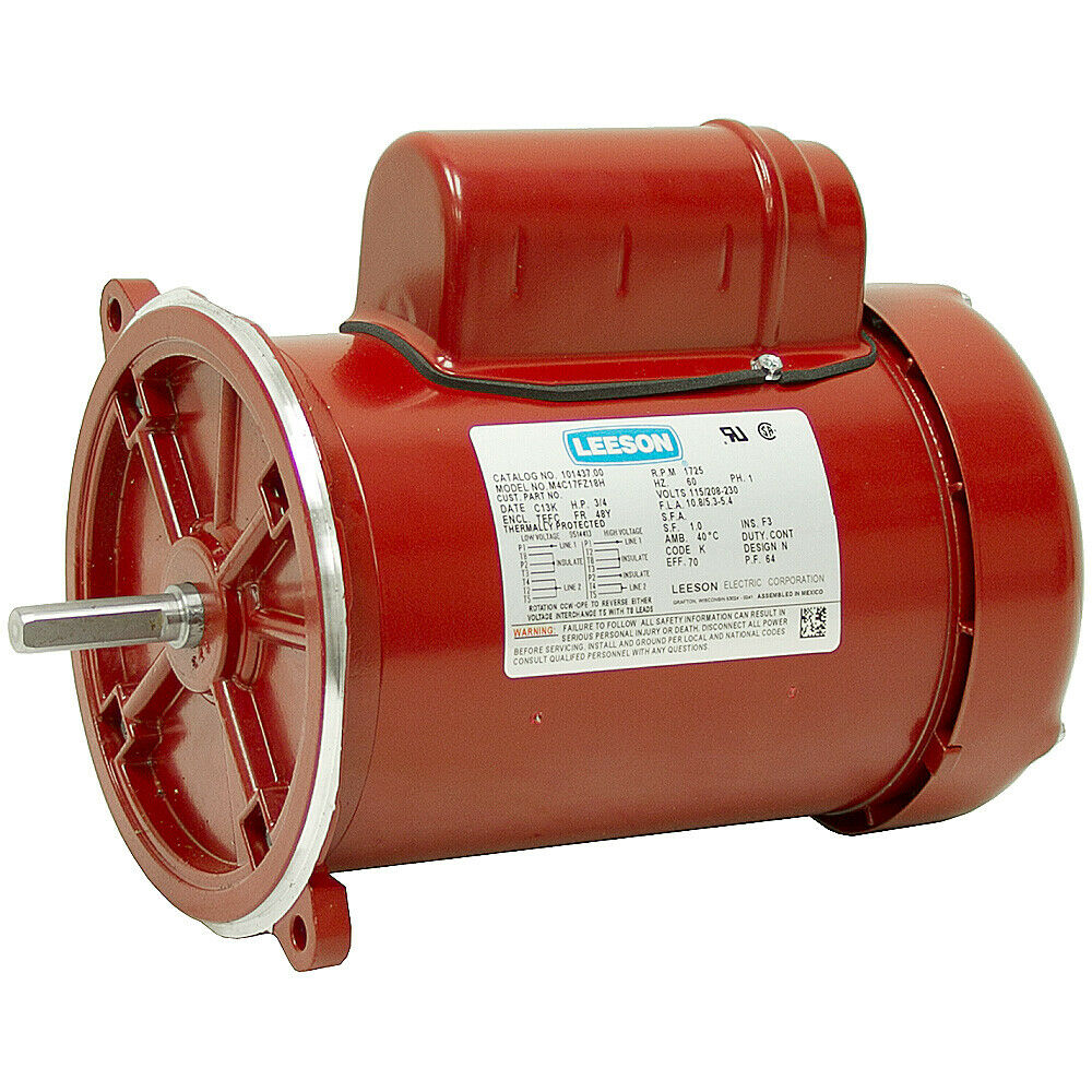 1 2 hp 1725 rpm 115 230 volt ac 48y frame tefc leeson for 1 4 hp dc motor