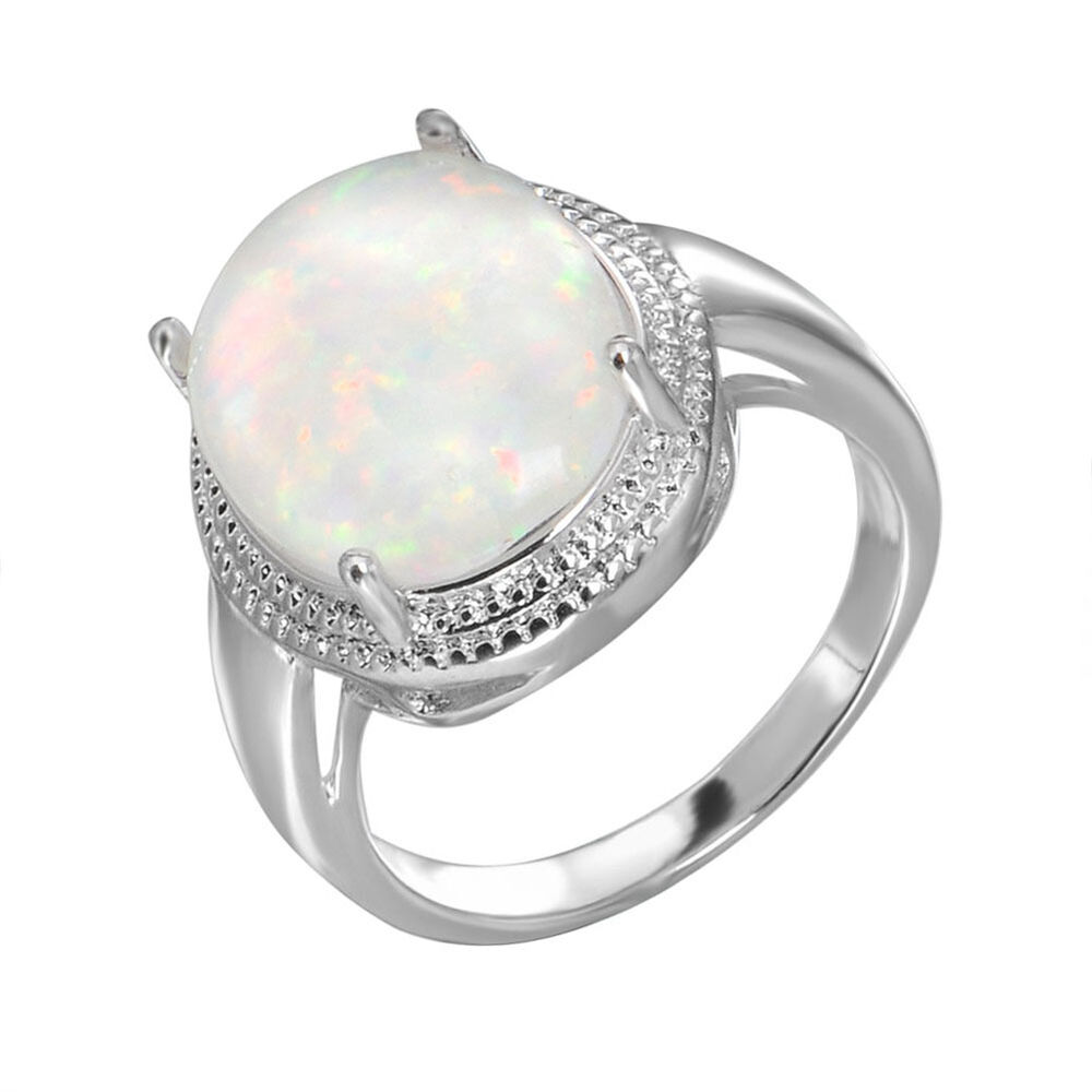 oval white opal rings size 6 9 women 39 s 925 sterling silver. Black Bedroom Furniture Sets. Home Design Ideas