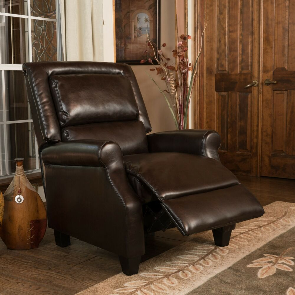 Contemporary Brown Bonded Leather Recliner Club Chair Ebay