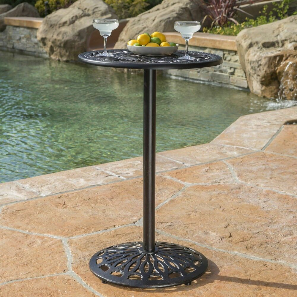 Outdoor Patio Furniture Paris Cast Aluminum Bar Height Bistro Table EBay