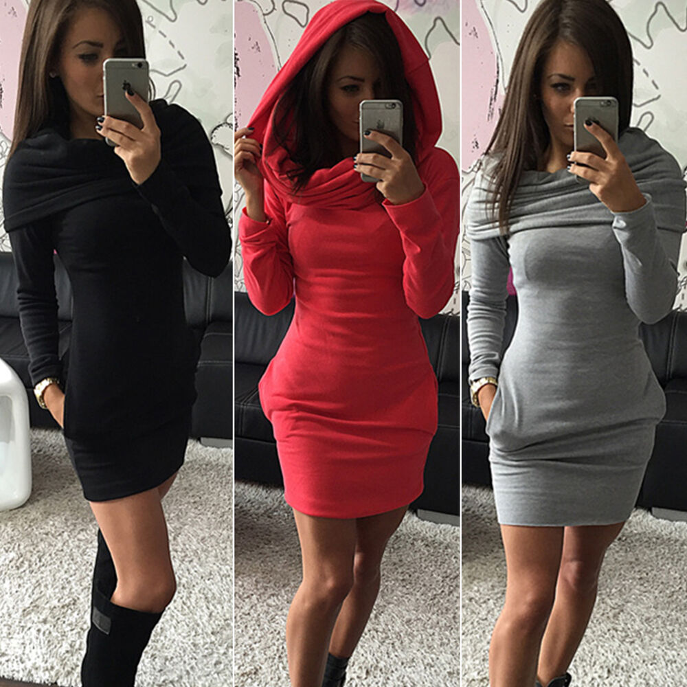 Images of Hooded Bodycon Dress - Reikian