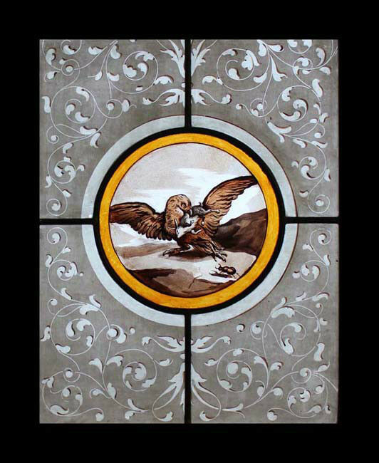 Rare Painted French Eagle Antique Stained Glass Bird