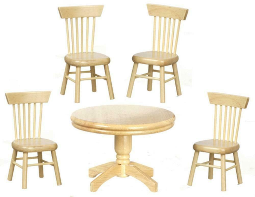 Dolls house miniature light oak dining room suite round for Oak dining room table chairs