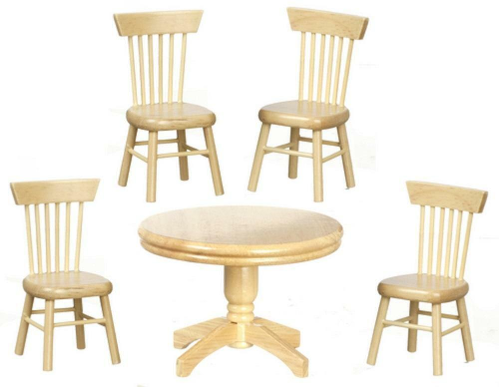 Dolls house miniature light oak dining room suite round for Dining room table and 4 chairs