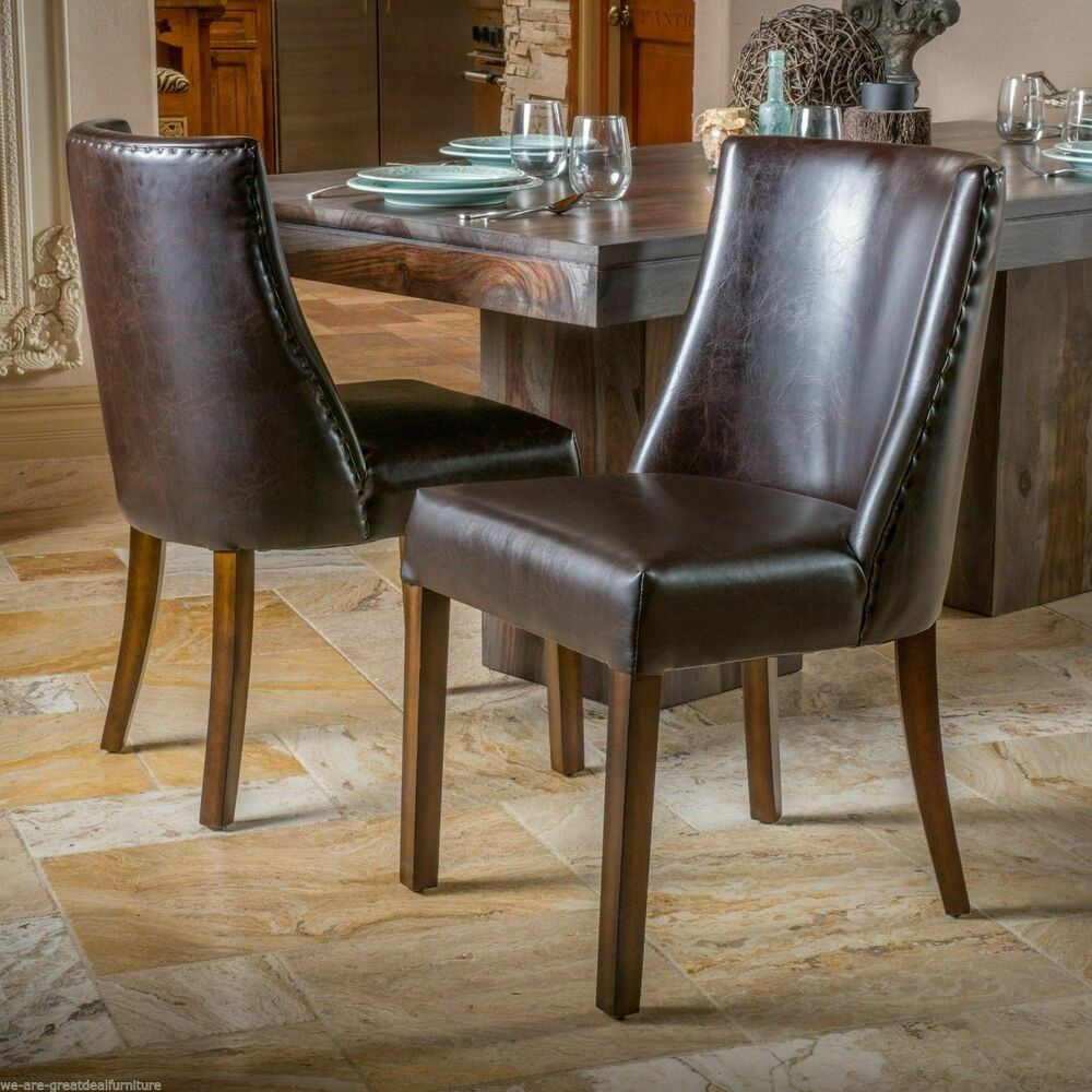 Set of 2 dining room furniture brown leather dining for Brown leather dining room chairs
