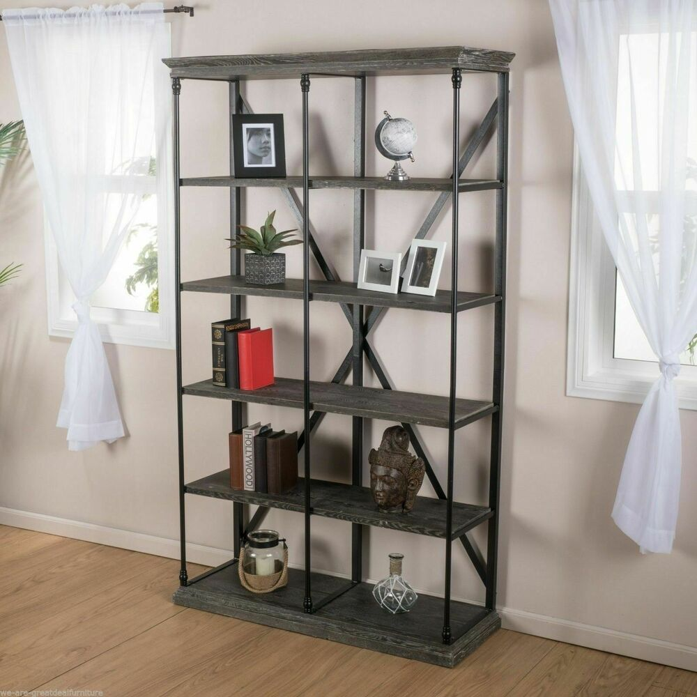 House Bookshelf: Home Office 5-Shelf Industrial Dark Tan Grey Wood Storage