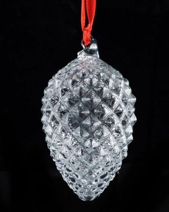 Charming vintage steuben art glass crystal pinecone christmas ornament