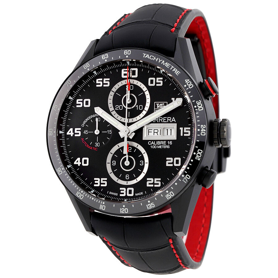 Tag heuer carrera black dial chronograph automatic mens watch cv2a81 fc6237 ebay for Tag heuer automatic