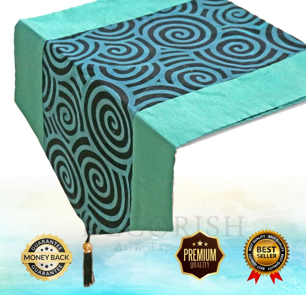 Silk Queen King Bed Scarf Table Runner Teal Turquoise