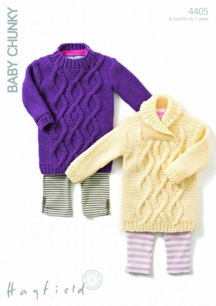 Hayfield Knitting Patterns For Babies : Hayfield Baby Sweater Dresses Knitting Pattern 4405 Chunky (Sirdar-4405) eBay