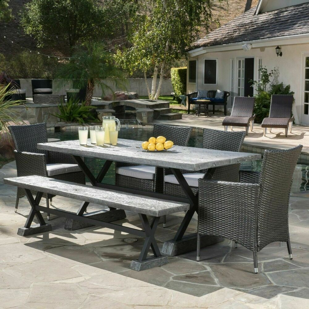 Contemporary Outdoor Dining Furniture: Contemporary Rustic Design Outdoor 6-piece Grey Picnic
