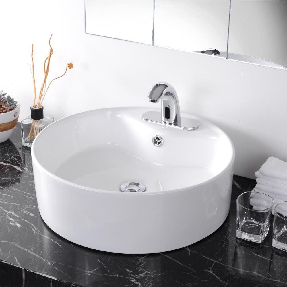 Round Vessel Sink Vanity : Round Bathroom Porcelain Vessel Vanity Sink White Ceramic Art Basin ...