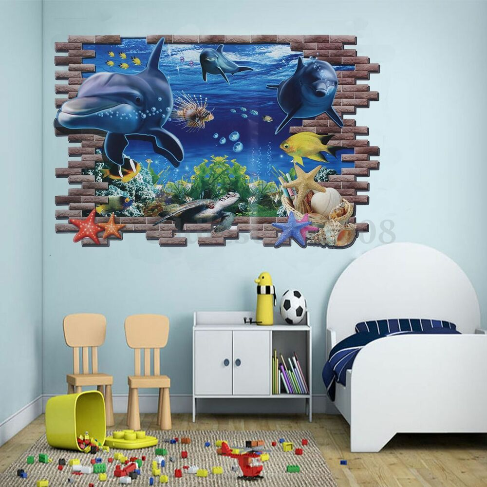 Sea ocean wall sticker large 3d underwater shark dolphin for Decor mural 3d